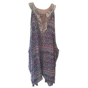 Blue Silver Sequined Tunic Short Casual Dress